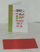 Hallmark XZH 349 1 Family Gift Red White Tie Christmas Card Red Envelope Package image 2