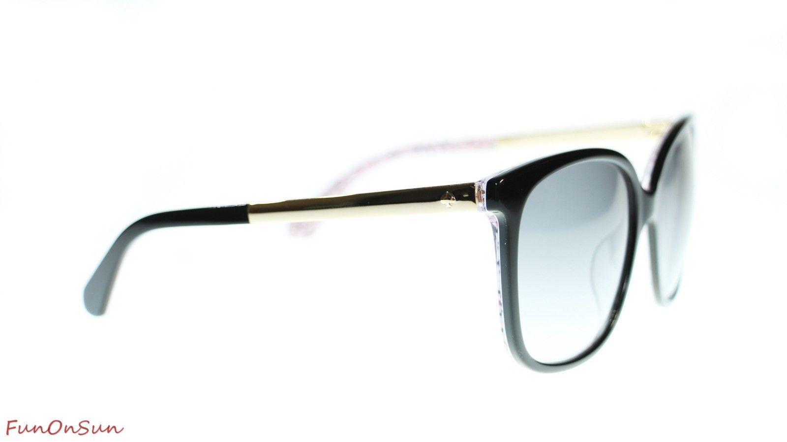Kate Spade Women Sunglasses Mackenzee 0UYY Black Pattern Red Dark Gray Lens 57