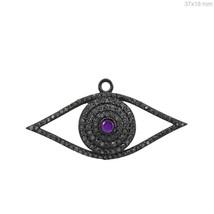 Sapphire Diamond Pave Evil Eye Pendant 925 Sterling Silver Vintage Style... - $148.67