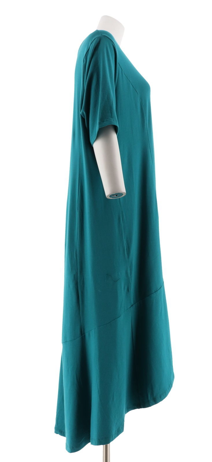Isaac Mizrahi Petite Elbow Slv Knit Maxi Dress Forest Teal P1X NEW A308002