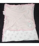 Carter's Just One You Kitty Baby Blanket Pink White Stripes Cats Cotton ... - $22.22