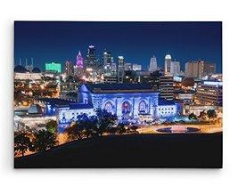 "Kansas City Union Station Skyline Brushed Aluminum Metal Print (20"" x 16"") - $74.20"