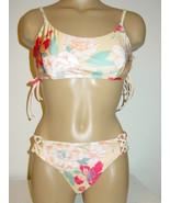 Roxy Golden Swimsuit Bikini 2 pc Set Floral Print Riding Moon-L-$90. NEW - $59.35