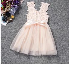 Newly Pink Lace Short Flower Girls Dress Fall Summer Gowns Wedding Kids ... - $19.33