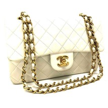 AUTHENTIC CHANEL Matelasse 23 Chain Bag Shoulder Bag White Lambskin Leather - $1,310.00