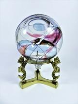 Fostoria Galleria Hand Blown Glass Ornament Rare Sun Catcher Bonus Brass Stand - $37.62