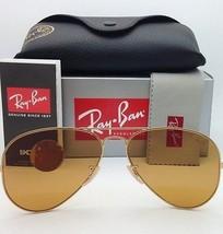 Polarized RAY-BAN Sunglasses RB 3025 Large Metal 112/4L Matte Gold w/Blue Mirror