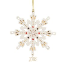 Lenox 2018 Gemmed Snowflake Ornament Annual Christmas Red Black Crystals... - $49.90