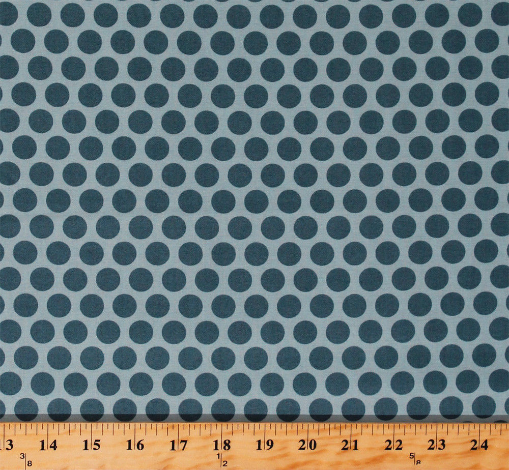 Something Blue Edyta Sitar Polka Dots Sky Cotton Fabric Print by Yard D379.29