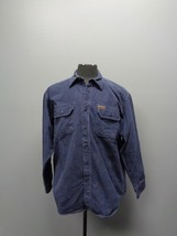 WOOLRICH Navy Blue Long Sleeve Button Up Shirt W Pockets Sz L Cotton SMA... - $39.59