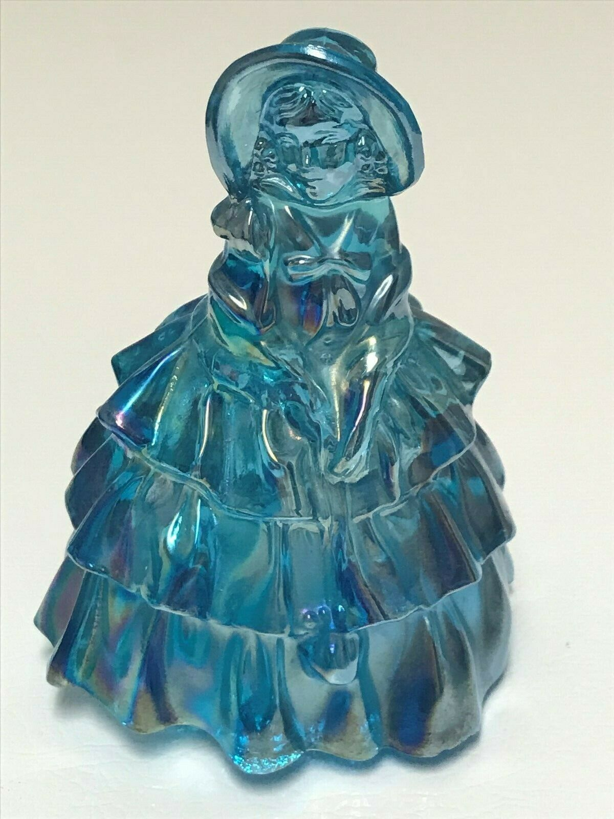 Vintage Wheaton Southern Belle Lady with Hat Blue Carnival Iridescent Art Glass