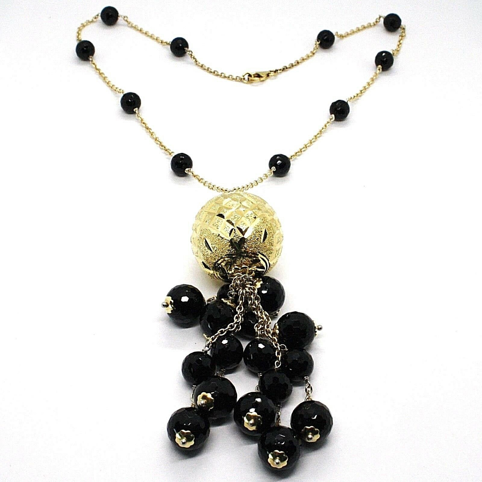 Necklace Silver 925, Yellow, Big Sphere Worked, Waterfall Onyx Black