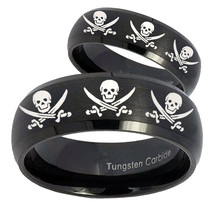 His Hers Multiple Skull Pirate Dome Brush Black Tungsten Mens Band Set - $79.98