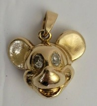 Disney Gold Plated Mickey Mouse Pendant With Crystal Eyes - $22.20