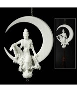 KWAN YIN WATER & MOON DREAM CATCHER Hanging Tassel White Marble Resin St... - $39.95