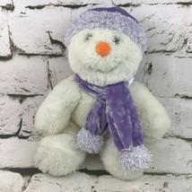 Commonwealth Snowman Christmas Plush Shimmer Stuffed Animal Lavender Hat Scarf - $11.88