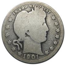 1901 Barber Quarter 25C Silver Liberty Head Coin Lot# A 1114
