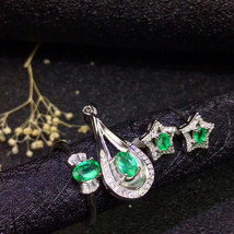 Natural emerald sterling silver fashion jewelry sets - $199.00