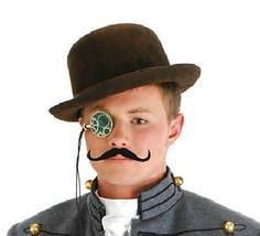 Male SteamPunk Costume Kit, Bowler Hat Monocle Mustache - $16.34