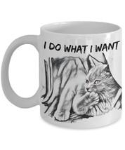 """I Do What I Want Cat Mug """"Laid Back Cat Mug"""" Cute Cat Mug Makes A Great Cat Love - $14.95"""