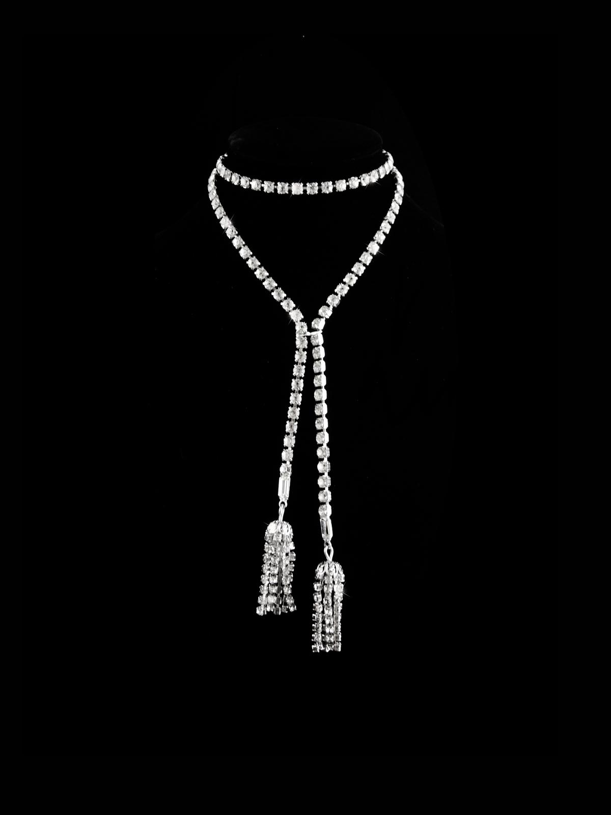 "FABULOUS Vintage Flapper rhinestone necklace - 36"" Tassel drops - heavy big glas"
