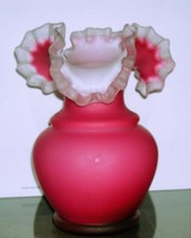Mt Washington Pink Cranberry Large Ruffle Vase 12' Tall - $138.59