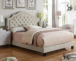 Twin Full Queen King Beige Upholstered Platform Bed Frame Tufted Fabric ... - $278.09+