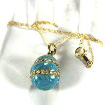 Necklace Turquoise And Rhinestone 925 Easter Egg Cloisonne Enamel Pendant 1967 U - $58.00