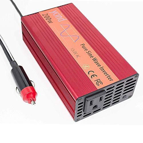 YCIND 200W Pure Sine Wave Inverter Car Inverter 12VDC to 110VAC 2 US Outlets Car