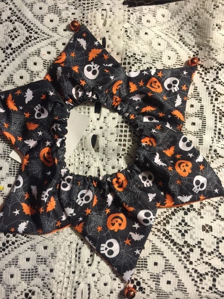 Dog Scrunchie Size M/L Black With Orange Bats White Skulls Spiderwebs