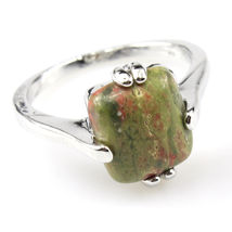 RECTANGLE NATURAL STONE RING  **SZ 6.0**  #9934  >> COMBINED SHIPPING - $3.75