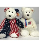 "TY Beanie Buddies 15"" Patriotic Spangle And LibertyBear 1999 2000 Retired - $34.64"