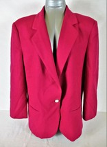 SAG HARBOR womens Sz 14  L/S pink FULLY LINED 1 button 2 pocket WOOL jac... - $36.77