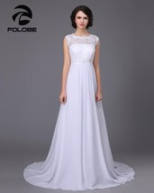 White/Ivory Chiffon Beading Lace Beach Wedding Dress Sweep Train Bridal ... - $299.99+