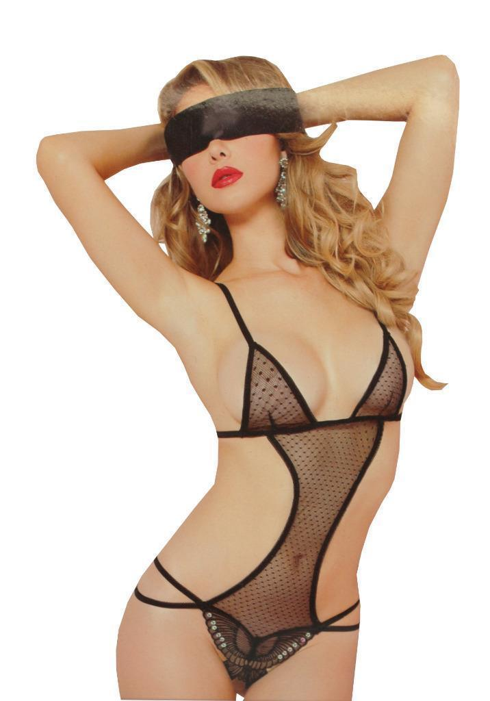 NEW WOMEN'S 7'TIL MIDNIGHT LINGERIE MADAME BUTTERFLY TEDDY BLACK 9883P ONE SIZE