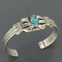 Navajo Frederick Chavez Handmade Sterling Silver Turquoise Cuff Bracelet... - £69.58 GBP