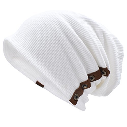 VECRY Men's Oversize Slouch Beanie Slouchy Skullcap Large Baggy Hat Button-White