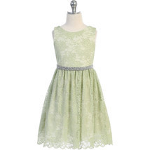 Mint Sleeveless Stretch Floral Lace Scallop Hem Shiny Sash Girl Dress - £22.35 GBP+