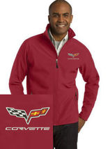 Corvette Red Embroidered Port Authority Core Soft Shell Unisex Jacket NEW - $39.99