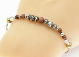 925 Sterling Silver - Vintage Goldstone & Gold Pearl Bead Chain Bracelet... - $26.23