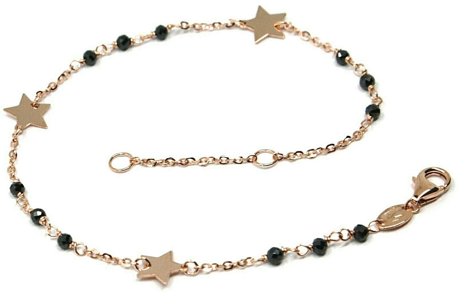 18K ROSE GOLD BRACELET, FACETED BLACK SPINEL, FLAT STARS, ROLO CHAIN ALTERNATE