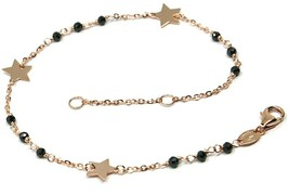 18K ROSE GOLD BRACELET, FACETED BLACK SPINEL, FLAT STARS, ROLO CHAIN ALTERNATE image 1