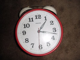 COLLECTABLE VINTAGE RETRO STAIGER WIND UP ALARM CLOCK   8 inches tall works - $68.31