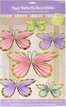 BUTTERFLY Party Paper Decoration Glitter Pink PAstel 6PCS Supplies Favor... - $16.78