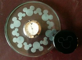 Disney Mickey Mouse Glass Clock Silhouette Quartz Metal Base Collectable - $51.17