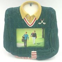 Russ Berrie 3x4 Golf Shirt Shape Photo Frame Sculptured Green FM - $16.95