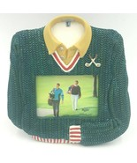 Russ Berrie 3x4 Golf Shirt Shape Photo Frame Sculptured Green FM - $16.95