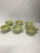 6 pc MUGS  coffee cup Green Vintage California  Living Pottery USA laurel - $33.65