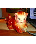 Vintage Pottery American Bisque Brown Color Tone Kitten Playing With Yar... - $24.74