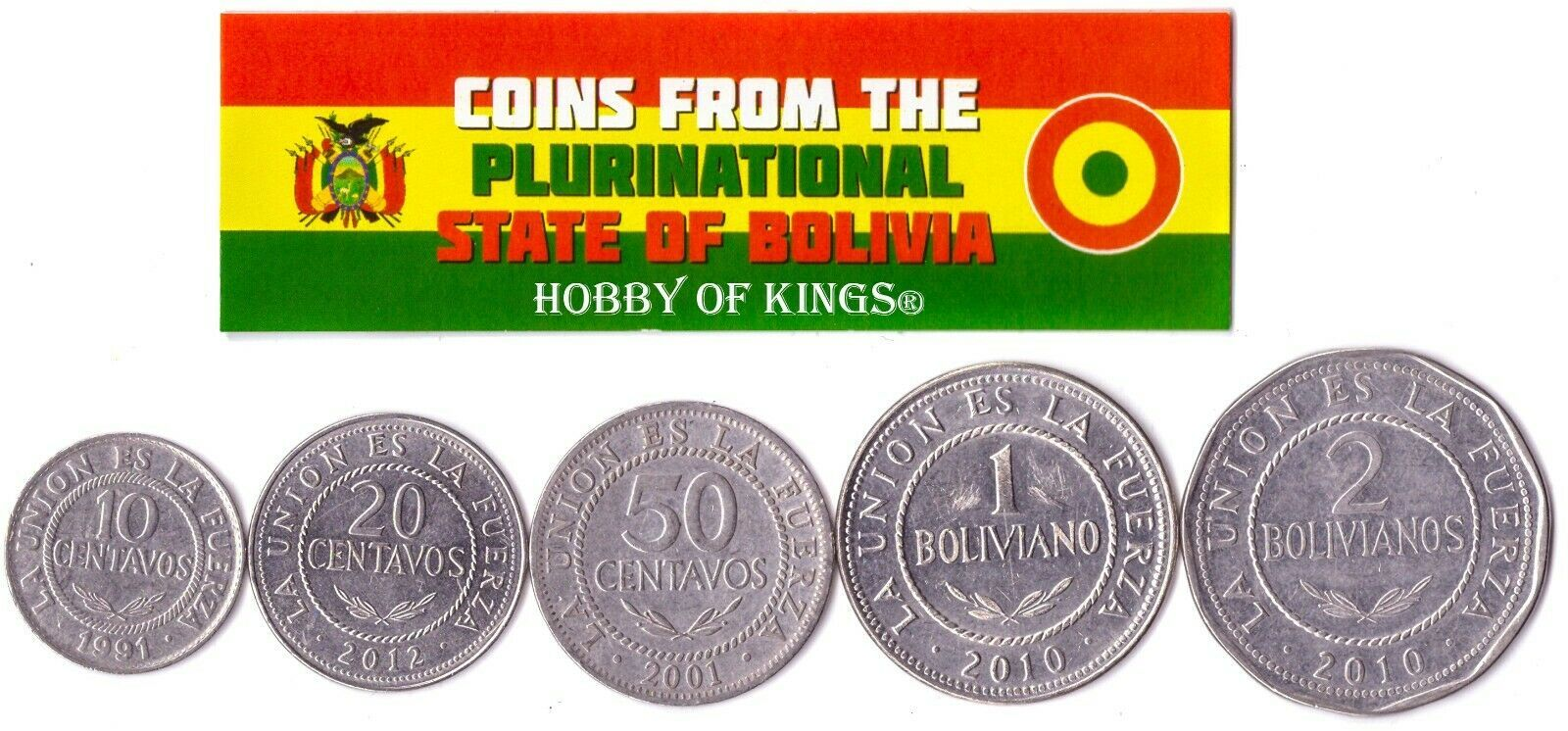 5 BOLIVIAN COINS DIFFERENT SOUTH AMERICAN COINS FOREIGN CURRENCY